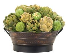 Natural Decorations, Inc. - Artichoke Osage Green, Old Copper Oval Tub