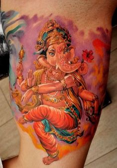 This amazing tattoo of Ganesh by Dmitriy Samohin shows the Hindu God adorned with jewelry « « Ratta Tattoo