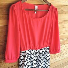 Bright & Bold Dress A bright coral top (it's not as red as the picture turned out) and bold black & white pattern make for a perfect pair. I picked this gem up at a small boutique and love it but it's always been a little too snug. Someone needs to show this dress some love! Size L, never worn. Pink Owl Dresses Mini