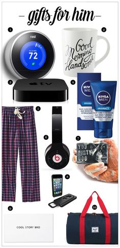 Holidays, gifts, men, Holiday Gifts for Men, Gift Ideas for Him, Nest Thermostat, Apple TV, Beats by Dre, Herschel, Owen & Fred