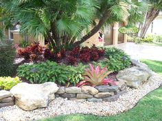 Rock Yard Landscaping | no grass front yard ideas | Bountiful Backyard {I like the looks of this but with the pathway being the dry creek bed. Description from pinterest.com. I searched for this on bing.com/images