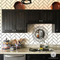 Create the look of faux ceramic subway tiles in your bathroom or on a kitchen backsplash by painting your walls with the Subway Tiles Herringbone Wall Stencil! Herringbone Subway Tile, Herringbone Fireplace, Subway Tile Kitchen, Wallpaper Backsplash Kitchen, Backsplash Ideas For Kitchen, Paint Backsplash, Backsplash Cheap, Wall Tiles For Kitchen, Kitchen With Black Cabinets