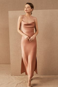 An elegantly draped cowl neckline completes this silky slip dress with a modern midi silhouette.Only available at BHLDN Bhldn Bridesmaid Dresses, Orange Bridesmaid Dresses, Bridal Party Dresses, Wedding Dress, Bride Maid Dresses, Champagne Bridesmaid Dresses, Grey Bridesmaids, Affordable Bridesmaid Dresses, Wedding Attire