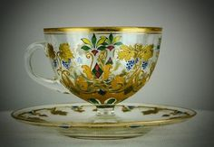 MOSER CUP AND SAUCER : Lot 140