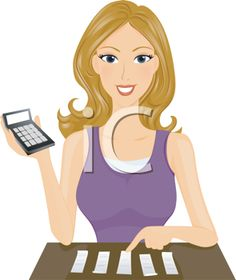 iCLIPART - Royalty Free Clipart Image of a Woman With a Calculator and Receipts