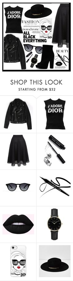 """Monochrome: All Black Everything"" by liviagb ❤ liked on Polyvore featuring Christian Dior, New Look, Bobbi Brown Cosmetics, ROSEFIELD, Casetify, River Island, monochrome and allblack"