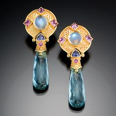 "Aquamarine Drop Earrings  18K gold set with rainbow moonstones, pink sapphires, tanzanites and aquamarine briolets. 2.25"" long. 2007"