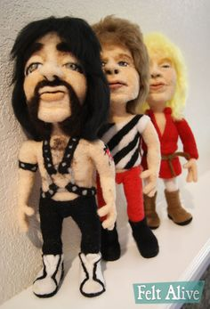 This is Spinal Tap Needle Felted Wool Caricature Dolls by Kay Petal - Felt Alive Wool Sculptures