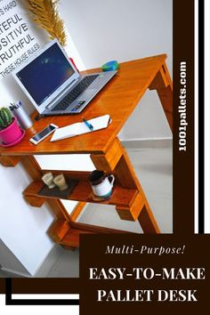 It is incredible how few pieces of rubbish can make your work comfier!  Check it out how I made a desk from pallets precisely to the size I needed.  #PalletArtDesk, #PalletCraftsForKids, #PalletDesk, #PalletWorkstation