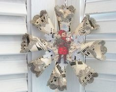 Vintage Style Victorian Child Star Snowflake Wreath Christmas Ornament Sheet Music German Glass Glitter