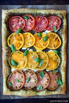 Heirloom Tomato and Goat Cheese Tart #recipe via justataste.com