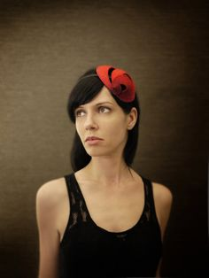 Red Ombre Felt Headband with Geometric Accents Helix by pookaqueen, $56.00
