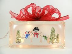 Lighted Glass Block Snowman Family Hand by PaintingByElaine