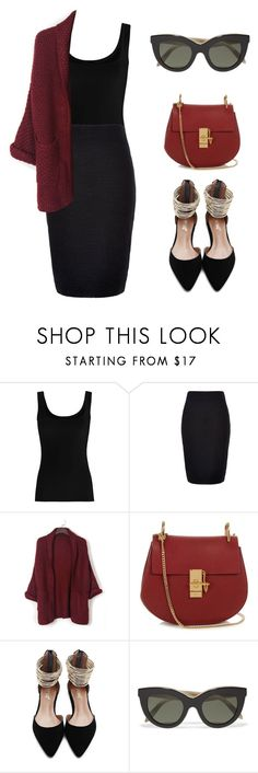 """""""Tuesday night service"""" by rhianna-alexandre ❤ liked on Polyvore featuring Twenty, New Look, WithChic, Chloé and Victoria Beckham"""