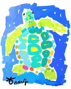 Aqua Lime Loggerhead Turtle artist Kelly Tracht Giclee Print on Cotton Rag Paper, various sizes available Item Sea Turtle Art, Sea Turtles, Loggerhead Turtle, Beach Cottage Decor, Lake Decor, Treasure Island, Tropical Decor, Beach Art, Bird Prints