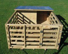 Pig House ~ or goat pen Cabras Boer, Pig Shelter, Goat Pen, Goat House, Pig Pen, Poultry Supplies, Goat Farming, Cattle Farming, Mini Pigs