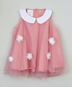 $19.99 marked down from $50! Pink Flower Peter Pan Collar Dress - Toddler & Girls #toddler #girls #pink #tulle #dress #fashion #sale #flower #white #zulily #zulilyfinds