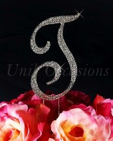 Unik Occasions - Sparkling Collection Crystal Rhinestone Monogram Cake Topper - Letter T