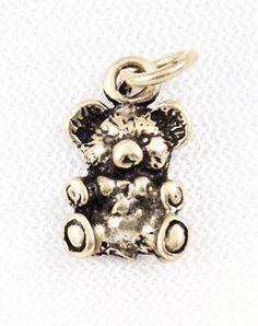 Sterling Silver Teddy Bear Charm Vintage