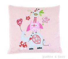 Kissen - Kuschelkissen *Elefant Eule Vogel rosa* Vichy Karo - ein Designerstück von punkteundkaro bei DaWanda