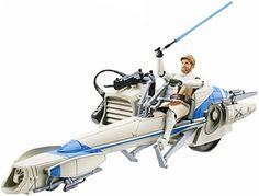 Star Wars The Clone Wars Vehicle & Figure Speeder Bike & Obi-Wan #TakaraTomy
