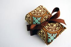 Handmade Cosmetics / Makeup roll in Brown and Turquoise by Lilach Oren
