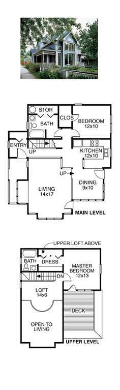 Victorian House Plan 32505 | Total Living Area: 1272 sq. ft., 2 bedrooms & 2 bathrooms. A modern kitchen with wide counters easily connects to the dining room, which enjoys light from corner windows. A loft with contemporary metal railing overlooks the living room, while enjoying the view through a soaring window. #houseplan #victorianstyle