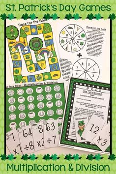 This set of St. Patrick's Day math games help your students practice their multiplication and division facts. Third grade, fourth grade, and fifth grade leprechaun fun for the month of March. Great small group activities that help plan your St. Patty's math stations, center, or rotations. A fun way to help your kids meet the Common Core standards for math fluency. 3rd grade, 4th grade, 5th grade games that all students will enjoy! #mathpracticegames #mathgamesfor3rdgrade
