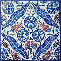 Cintamani tile in red, white, and turquoise. Iznik, Bursa, Turkey ca. Turkish Tiles, Turkish Art, Portuguese Tiles, Moroccan Tiles, Islamic Motifs, Islamic Art, Turkish Design, Art Asiatique, Slab Pottery