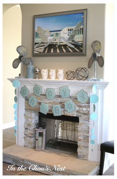 Boy baby shower decorations for fireplace mantel