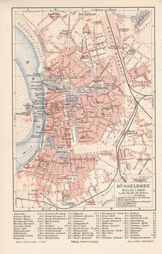 1894 Düsseldorf alte Landkarte Stadtplan Karte Antique City Map Lithographie