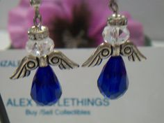 Cobalt Blue Angel Earrings by ALEXLITTLETHINGS on Etsy