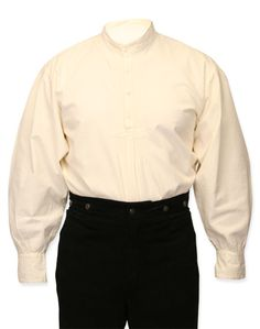 Vintage Mens Ivory Cotton Solid Band Collar Work Shirt | Romantic | Old Fashioned | Traditional | Classic || Essential Work Shirt - Natural