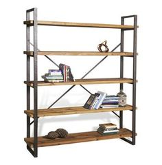 Milner Rustic Solid Wood Raw Steel Large Bookcase