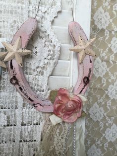 A personal favorite from my Etsy shop https://www.etsy.com/listing/266365802/shabby-pink-horseshoecowgirl