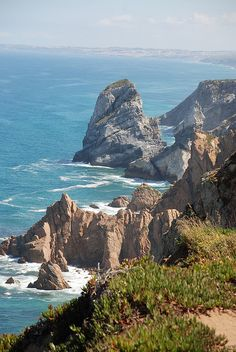 """Lisboa, Portugal  Cabo da Roca (N 38º46'51"""", W 9º30'2"""")  The westernmost point of  continental Europe; Poet Camoes described it as the place """"Where the land ends and the sea begins"""" (in The Lusiads)"""