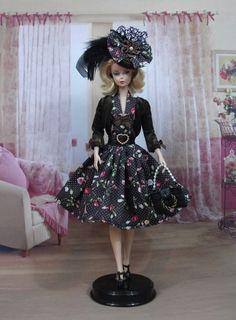 """Robe """" Audrey """" tenue pour poupée f3788"""