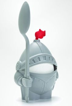 Arthur- Soft or Hard Boiled Egg Cup Holder With a Spoon Included- Knight Design - Kitchen Utensil Decor by Peleg Design Toy Art, Plastic Eggs, Egg Holder, Cooking Gadgets, Kitchen Gadgets, Cooking Utensils, Red Candy, Egg Cups, 3d Prints
