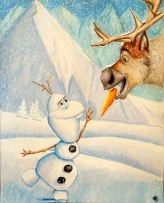Frozen Olaf & Sven (Disney) Art Print of an Original Prismacolor Pencil Drawing by AnnvasArtltd on Etsy https://www.etsy.com/listing/214370533/frozen-olaf-sven-disney-art-print-of-an