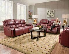 Franklin Furniture - Montana 2 Piece Leather Power Reclining Sofa Set w/ Power Headrest in Persimmon - Leather Reclining Sofa, Power Recliners, Living Room Sets, Sofa Set, Montana, Burgundy, Lounge, Couch, Sofa
