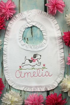 The Princess has Arrived Embroidered Baby Bib by Daisy Chain Embroidery