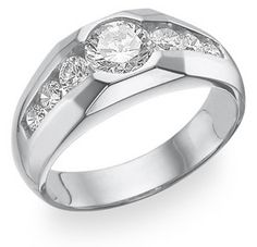 Clear, round, white cubic zirconias set in fine White Gold with a crowning CZ center-piece. Center stone CZ diamond equivalent of approx. carat of CZ side-stones, for a total of approx. Gents Ring, Gold Rings Jewelry, Jewellery, Fine Jewelry, Schmuck Design, Diamond Rings, Black Diamond, Ring Designs, Rings For Men