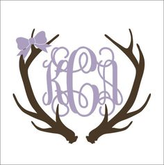 Antler Monogram Decal Car Deal with Bow by CustomVinylbyBridge