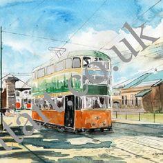 Tram leaving Newlands Depot – Glasgow | ttART Shop