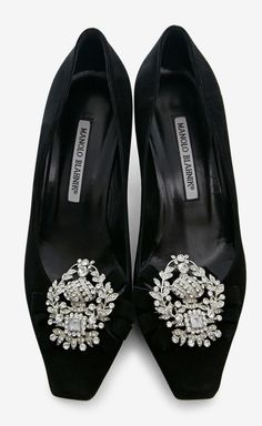 Manolo Blahnik Black And Silver Loafer