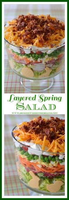 Layered Spring Salad! A make-ahead recipe for your potluck, family gathering or barbecue!   homeiswheretheboatis.net #Easter