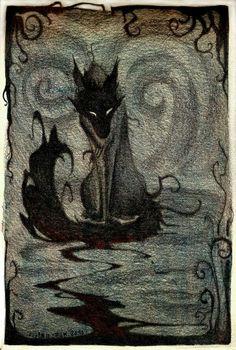 No hay un lobo malo. No hay dos lobos. Fantasy Creatures, Mythical Creatures, Dark Fantasy, Fantasy Art, Fenrir Tattoo, Hellhound Tattoo, Werewolf Tattoo, Art Manga, Arte Obscura