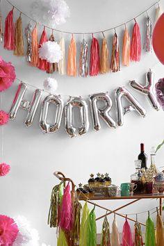 Hooray 16 Inch Party Balloon Kit & Tassel Garland