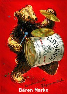 Bear brand Alpine Milk c. Retro Poster, Poster S, Retro Ads, Vintage Advertisements, Vintage Ads, Vintage Posters, Poster Prints, Pin Up Posters, Vintage Teddy Bears