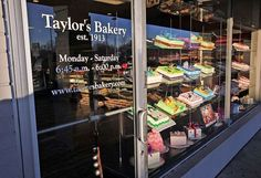 An overall shot of the Allisonville Road location,s storefront window full of decorated cakes. Taylor's Bakery, the state's oldest family ran bakery turns 100 years old February 13, 2013. So glad old fashioned bakeries still exist!